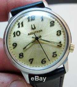 Serviced 2180 Accutron Stainless Steel Tuning Fork Men's Watch N6