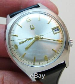 Serviced 218d Accutron Bulova Stainless Steel Tuning Fork Men's Watch M7