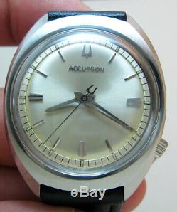 Serviced 218d Accutron Bulova Stainless Steel Tuning Fork Men's Watch N6