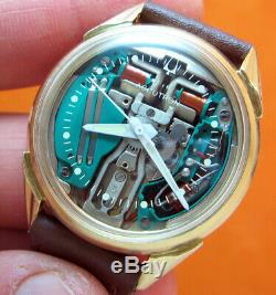Serviced Accutron 214 Bulova Spaceview 10kt. Gold Filled Tuning Fork Watch N1