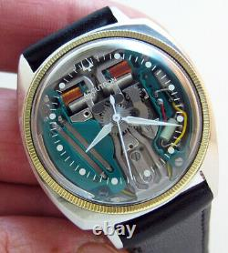 Serviced Accutron 214 Bulova Spaceview Stainless Steel Tuning Fork Men Watch M4
