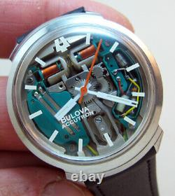 Serviced Accutron 214 Bulova Spaceview Stainless Steel Tuning Fork Men Watch M5