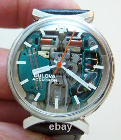 Serviced Accutron 214 Bulova Spaceview Stainless Steel Tuning Fork Men Watch M6