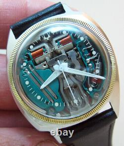 Serviced Accutron 214 Bulova Spaceview Stainless Steel Tuning Fork Men Watch M7