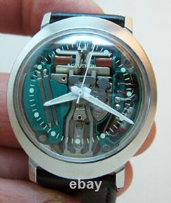 Serviced Accutron 214 Bulova Spaceview Stainless Steel Tuning Fork Men Watch M8