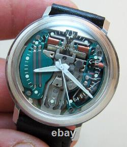 Serviced Accutron 214 Spaceview Stainless Steel Tuning Fork Man's Watch N1