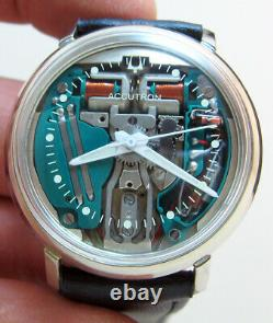Serviced Accutron 214 Spaceview Stainless Steel Tuning Fork Man's Watch N7