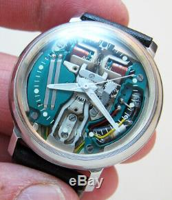 Serviced Accutron 214 Spaceview Stainless Steel Tuning Fork Men Watch M6