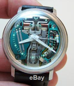 Serviced Accutron 214h Spaceview Stainless Steel Tuning Fork Men Watch M6