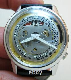 Serviced Accutron 2181 Spaceview Crystal Stainless Steel Tuning Fork Watch N1