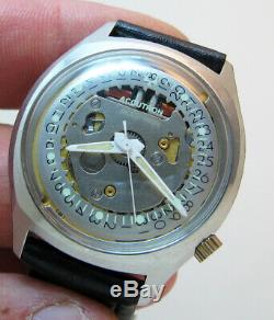 Serviced Accutron 2181 Spaceview Crystal Stainless Steel Tuning Fork Watch N4