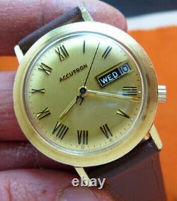 Serviced Accutron 2182 Bulova 14kt. Gold Filled Tuning Fork Men's Watch M9