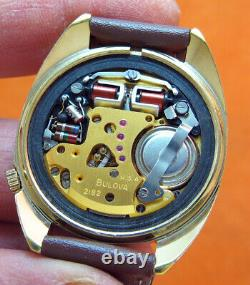 Serviced Accutron 2182 Bulova Gold Electroplate Tuning Fork Men's Watch N3