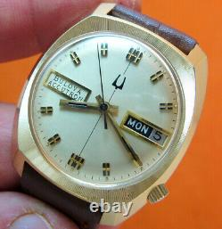Serviced Accutron 2182 Bulova Gold Electroplate Tuning Fork Men's Watch N6
