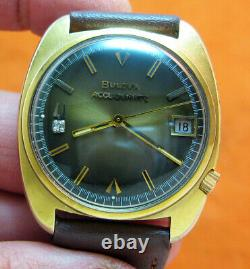 Serviced Accutron 2241 Accuquartz Gold Electroplate Tuning Fork Men's Watch N2