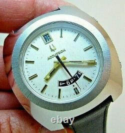 Serviced Accutron Astronaut Mark 2185 Stainless Steel Tuning Fork Men Watch N1