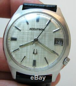 Serviced Accutron Bulova 218d Stainless Steel Tuning Fork Mens Watch N0