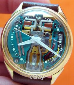 Serviced Bulova Accutron 214 Spaceview 10kt. Gold Filled Tuning Fork Watch M4