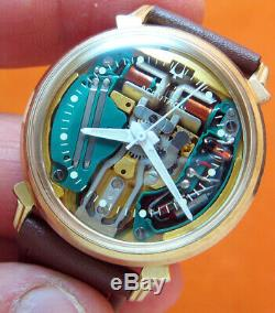 Serviced Bulova Accutron 214 Spaceview 10kt. Gold Filled Tuning Fork Watch N2
