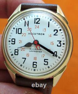 Serviced Bulova Accutron 214h Railroad 10kt Gold Filled Tuning Fork Men Watch M9