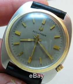 Serviced Bulova Accutron 2180 Stainless Steel Tuning Fork Men Watch N2