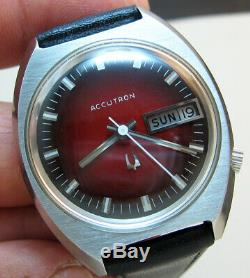 Serviced Bulova Accutron 2182 Stainless Steel Tuning Fork Men's Watch N2