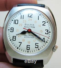 Serviced Bulova Accutron 218 Railroad Stainless Steel Tuning Fork Men Watch N4