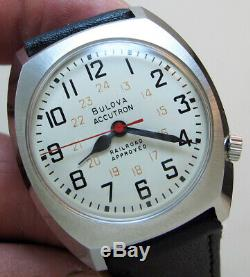 Serviced Bulova Accutron 218d Railroad Stainless Steel Tuning Fork Men Watch N1