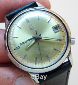 Serviced Bulova Accutron 218d Stainless Steel Tuning Fork Men Watch M7