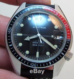 Serviced Deep Sea 666 Feet Accutron Stainless Steel Tuning Fork Men's Watch N0