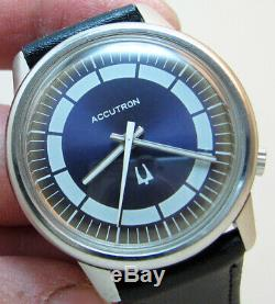 Serviced Vintage 2180 Accutron Bulova Stainless Steel Tuning Fork Mens Watch N1