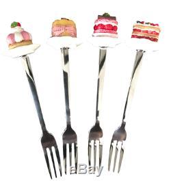 Set Of 4 Novelty Stainless Steel Cake Forks + Gift Box (Strawberry)