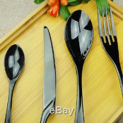 Stainless Steel 48 Pieces Black Cutlery Set Steak Knife Fork Spoon Teaspoon