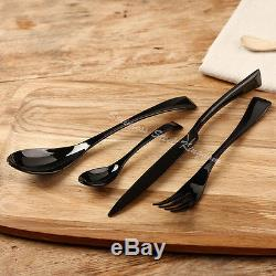 Stainless Steel Dinnerware 55 Piece Black Cutlery Set Knives Fork Spoon Teaspoon