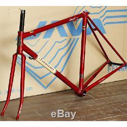 TSUNAMI 700c Road Bike Frameset Frame Fork Classic Lug CR-MO Steel 52cm Red