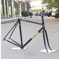 TSUNAMI Reynolds 520 Road Bike Frame Fork Classic Lug Chrome 700C Frameset Black
