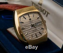 Tissot Electronic VERY Rare Tuning Fork sweep second Day Date 1970 39mm box and