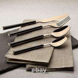 Tower T859007RGB 16 Piece Cutlery Set, Rose Gold and Black, Steel 5 Yr Gurantee