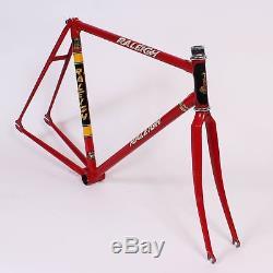 USED Vintage Raleigh Track Bike Frame 52cm Fork Reynolds 531 Tubing Red