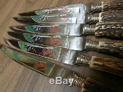 VINTAGE German engraved steak knives & forks. Genuine deer antler/stag handles