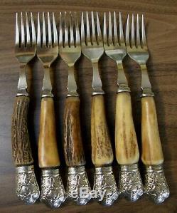 VINTAGE Sanderson steak knives & forks. Genuine deer antler/stag handles