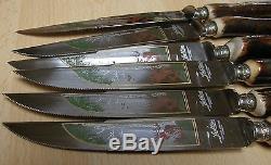 VINTAGE Solingen steak knives & forks. Genuine deer antler/stag horn handles