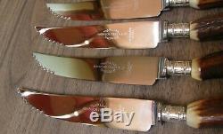 VINTAGE steak knives & forks. Genuine deer antler/stag handles. Harrison Fisher