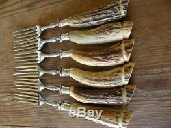 VINTAGE steak knives & forks. Genuine deer antler/stag handles. Howson Bros