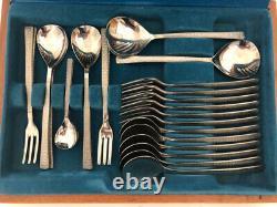Viners Studio complete vintage cutlery set 44 pieces in wooden canteen