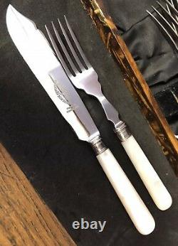 Vintage 12 Mother Of Pearl Handled Stainless Steel- Silver Collar Cutlery