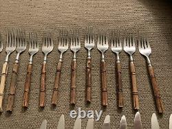Vintage 35 Rebacraft Bamboo Wood Handle Flatware Mid Century Forks Spoons Knives