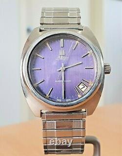 Vintage Allegro'Surf' SS blue dial Tuning Fork watch Zenith cal 50.0 RUNS