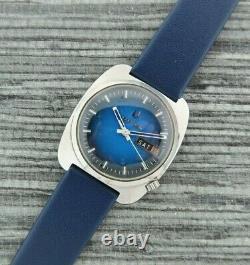 Vintage Bulova Accutron 218 2 Tuning Fork Men's Watch Runs Stainless + Blue Dial