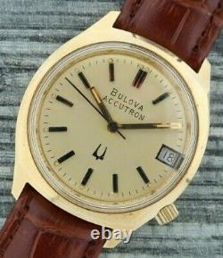 Vintage Bulova Accutron 219 2.10 Tuning Fork Men's Watch Gold Tone Running